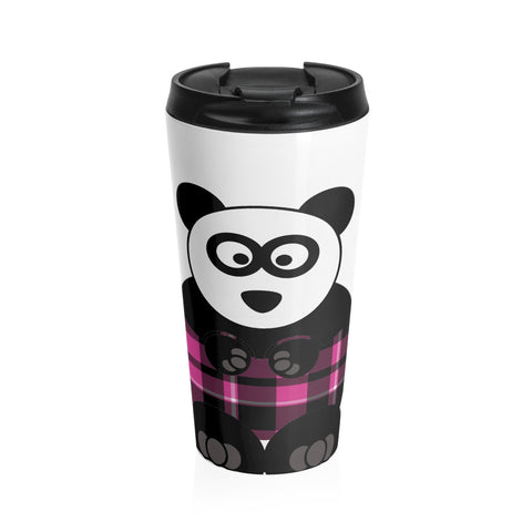 Plaid Panda on a Stainless Steel Travel Mug