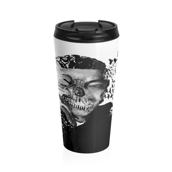 Demonic morphing skeleton on a Stainless Steel Travel Mug