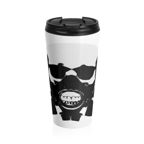 Rock this B&W version of our apocalyptic skull on a Stainless Steel Travel Mug