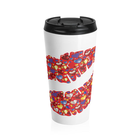 A colorful kiss on a Stainless Steel Travel Mug