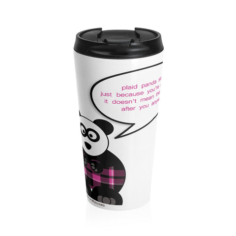 Paranoid Panda on a Stainless Steel Travel Mug
