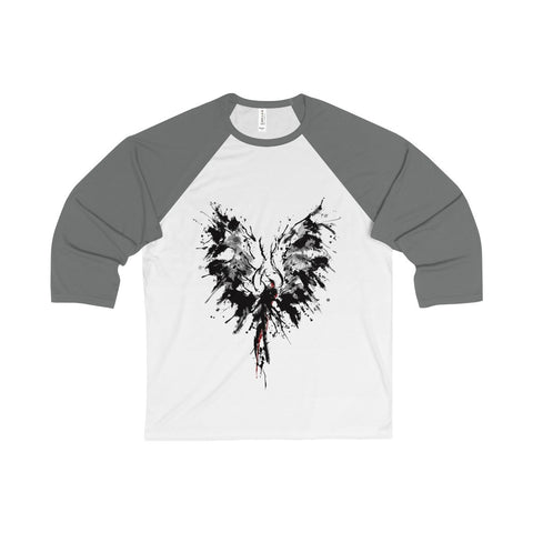 Abstract Phoenix on a Unisex 3/4 Sleeve Baseball Tee