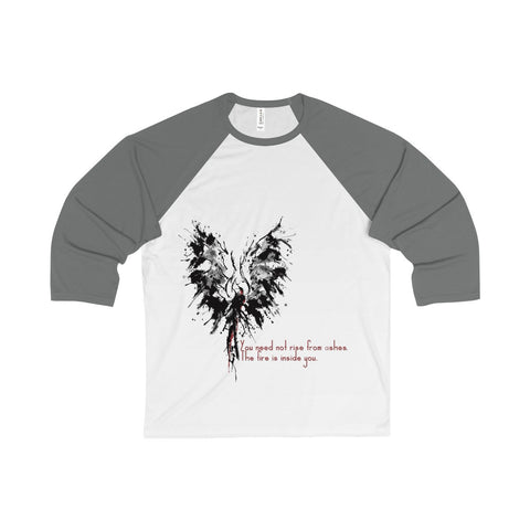 Abstract Phoenix with Inspiration on a Unisex 3/4 Sleeve Baseball Tee