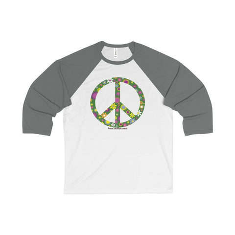 Flowerful Peace Sign on a Unisex 3/4 Sleeve Baseball Tee