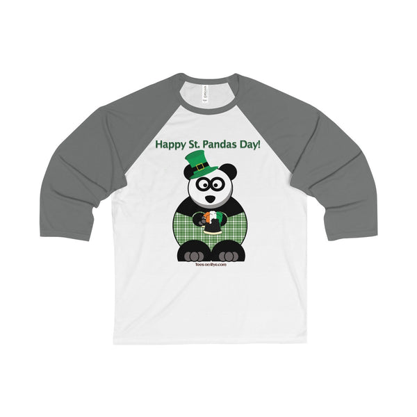 """Happy St. Panda's Day"" on a Unisex 3/4 Sleeve Baseball Tee"