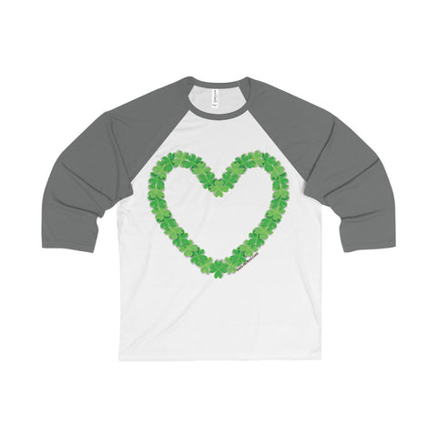 Shamrock Heart on a 3/4 Sleeve Baseball Tee