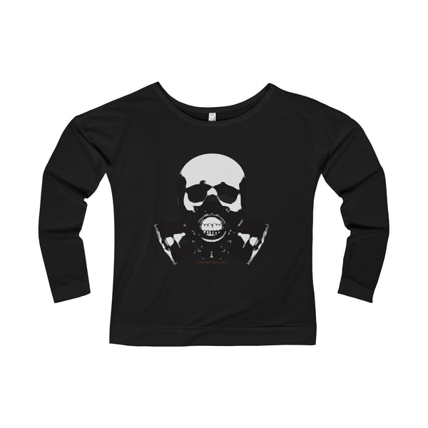Rock this B&W version of our apocalyptic skull on a Women's Terry Long Sleeve Scoopneck T-Shirt