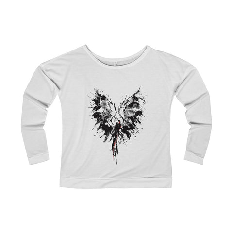 Abstract Phoenix on a Women's Terry Long Sleeve Scoopneck T-Shirt