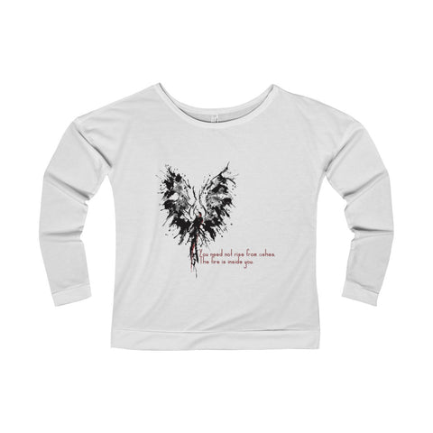 Abstract Phoenix with Inspiration on a Women's Terry Long Sleeve Scoopneck T-Shirt