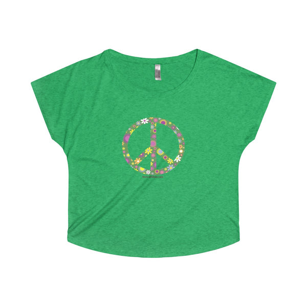 Flowerful Peace and Love on a Tri-Blend Dolman Tee Shirt