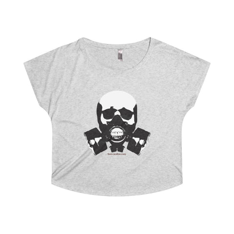 Rock this B&W version of our apocalyptic skull on a Tri-Blend Dolman Tee Shirt