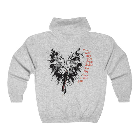 The Fire Inside...on the back of an Adult Full Zip Hooded Sweatshirt