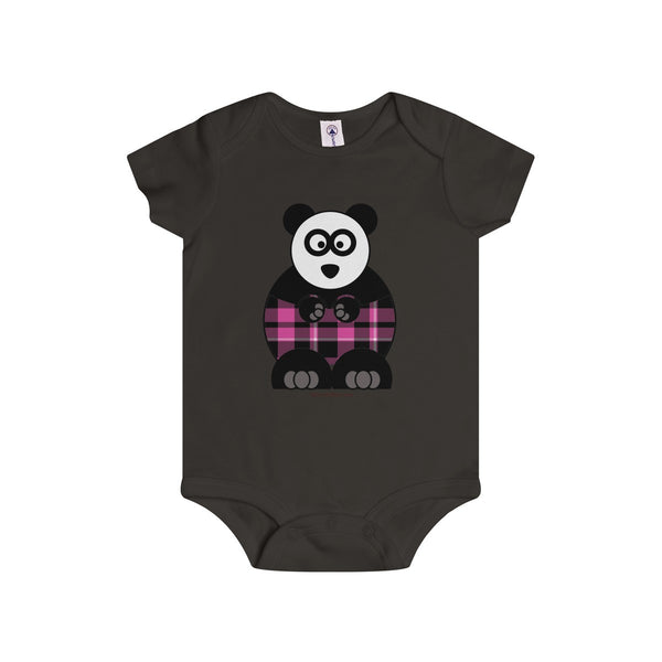 Plaid Panda on an Infant Rip Snap Tee