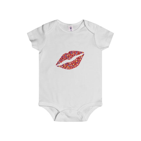 A colorful kiss on an Infant Rip Snap Tee