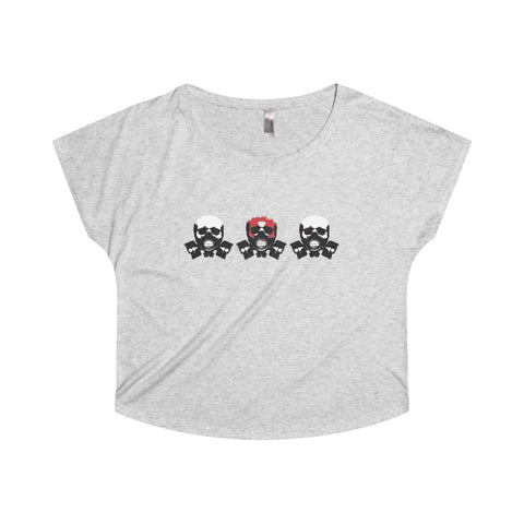 Triple Skulls on our Tri-Blend Dolman Tee