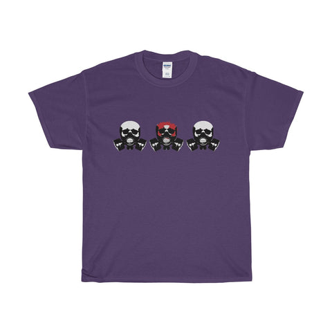 Triple Skulls on a Heavy Cotton T-Shirt