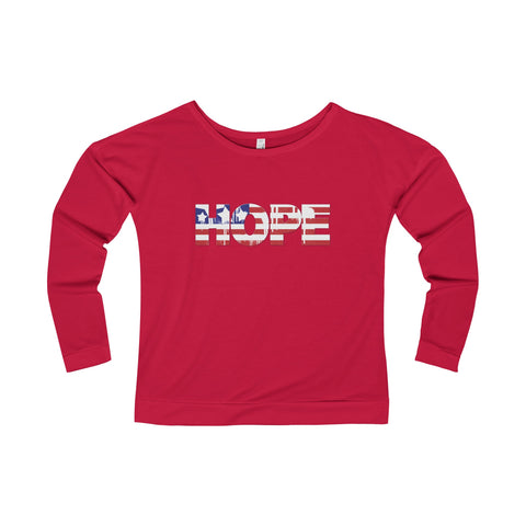 Hope is American on this Women's Terry Long Sleeve Scoopneck T-Shirt