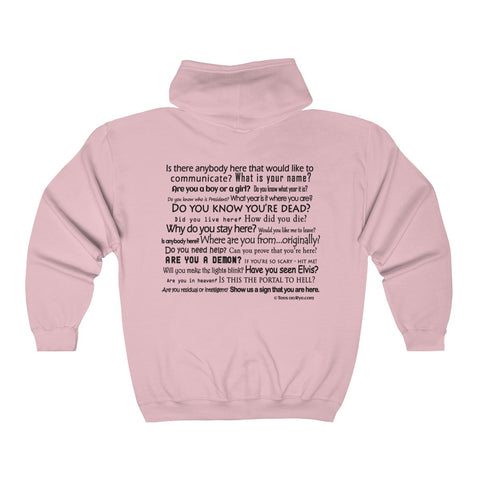 EVP Master text on the back of our Adult Full Zip Hooded Sweatshirt