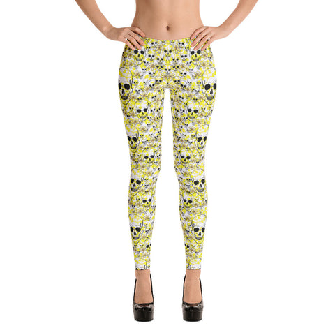 White and Yellow flowers with SKULLS Leggings