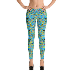 Blue SKULLS AND FLOWERS SPRING Leggings