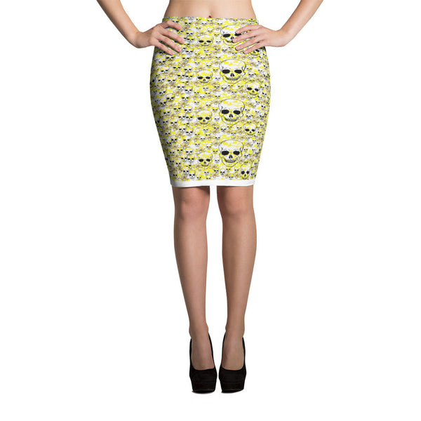 White and yellow flowers with SKULLS on a Pencil Skirt