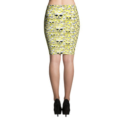 Pencil Skirt with White and Yellow flowers...plus SKULLS!