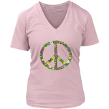 Flowerful Peace sign on a Women's V-neck Tee