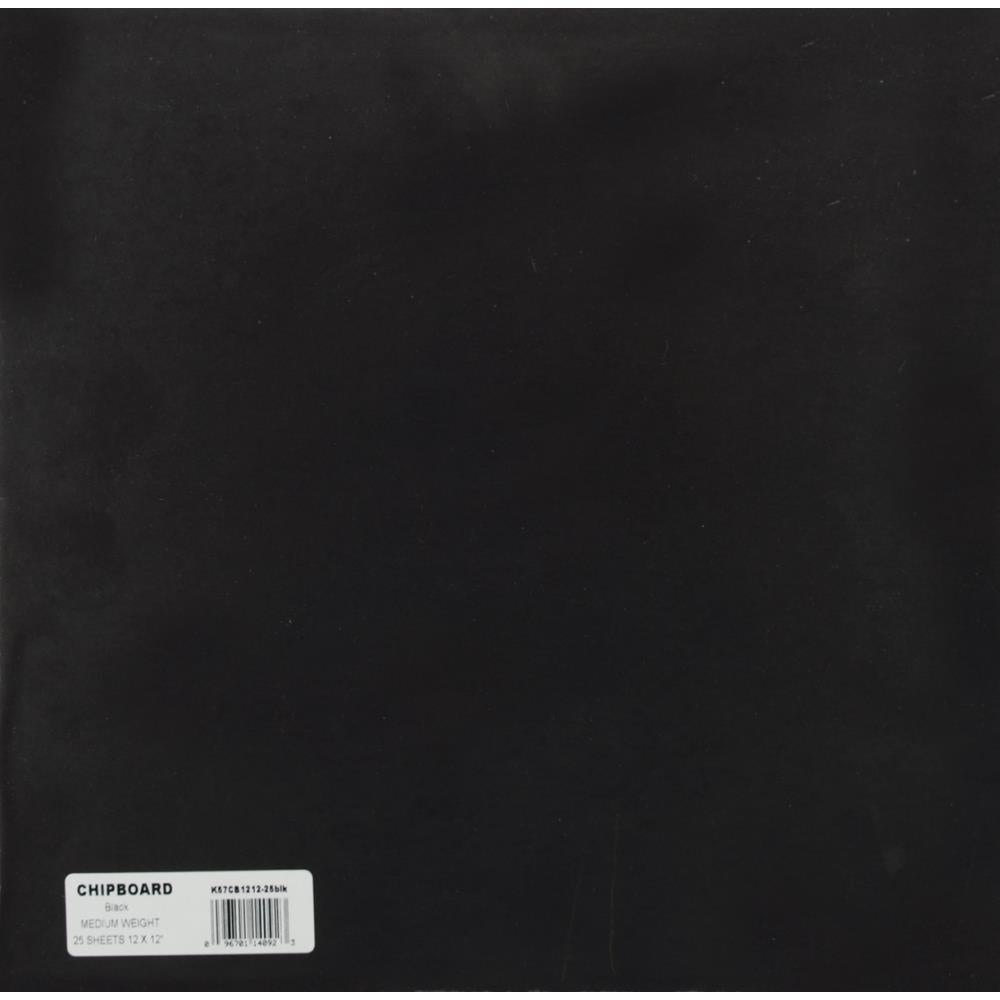 "Medium Weight 12""X12"" Chipboard Sheets Black"
