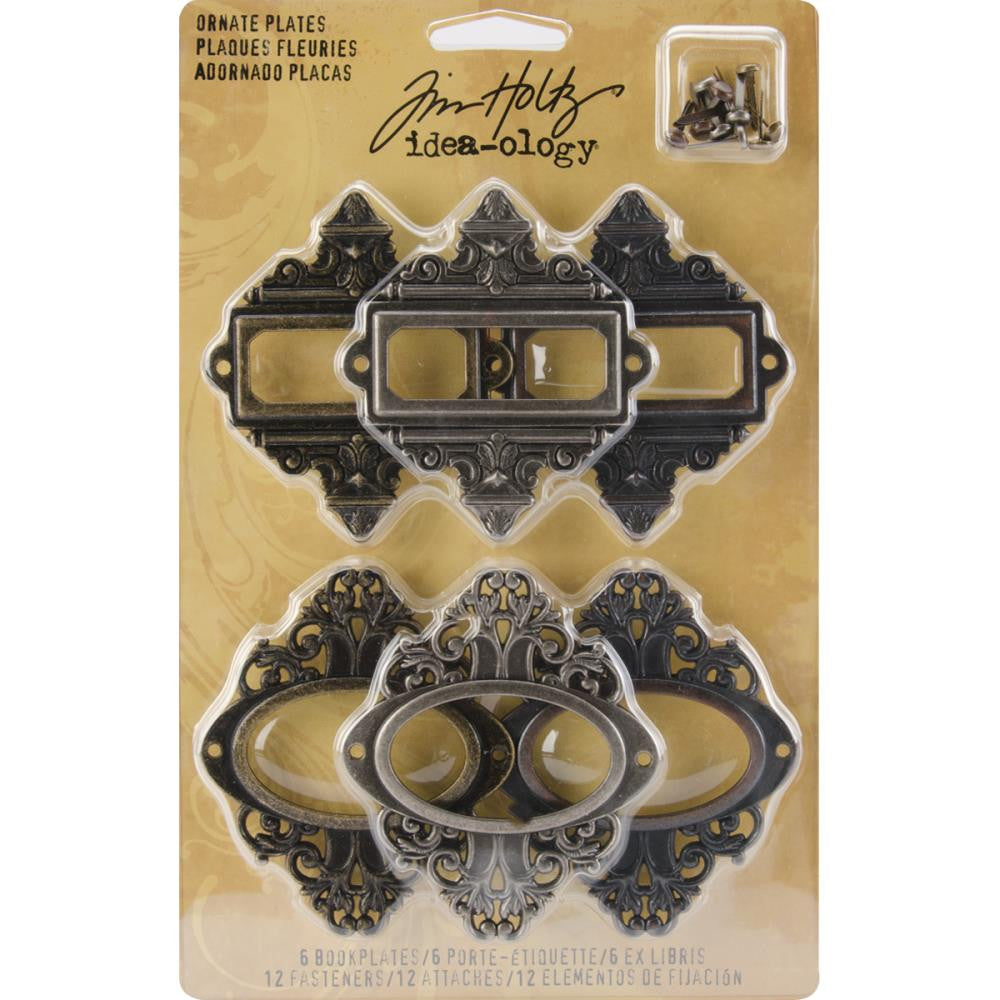 "Idea-Ology Metal Ornate Plates W/Fasteners 2.25""X2.5"" 6/Pkg"