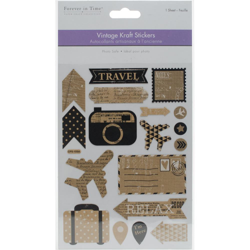 Travel Vintage Kraft Stickers