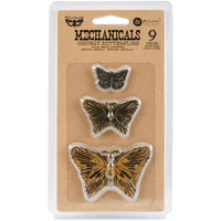 Finnabair Mechanicals Metal Embellishments - Grungy Butterflies 9/Pkg