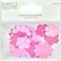 Simply Creative Blossoms Paper Flowers 21/Pkg Pink
