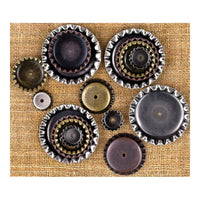 Finnabair Mechanicals - Prima - Metal Trinkets - Bottle Caps Assorted Sizes, 16/Pkg