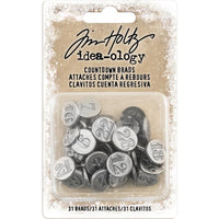 Tim Holtz Idea-ology Antique Nickel Number Brads 1 to 31