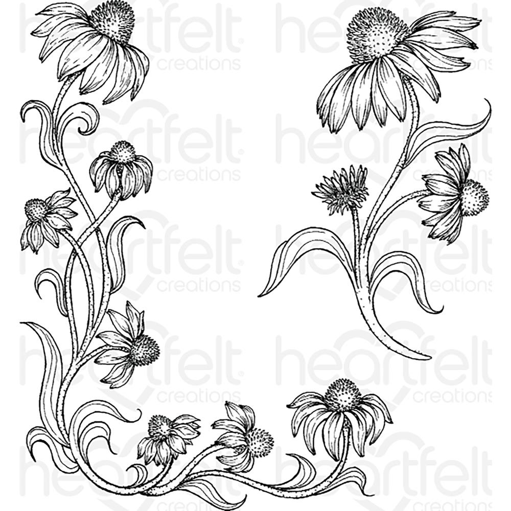 "Heartfelt Creations Cling Rubber Stamp Set 5""X6.5"" Blossoming Coneflower"