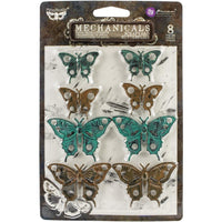 Finnabair Mechanicals Metal Embellishments - Scrapyard Butterflies 8/Pkg