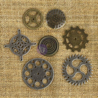 Prima Marketing - Mechanicals Metal Embellishments - Gears 7/Pkg