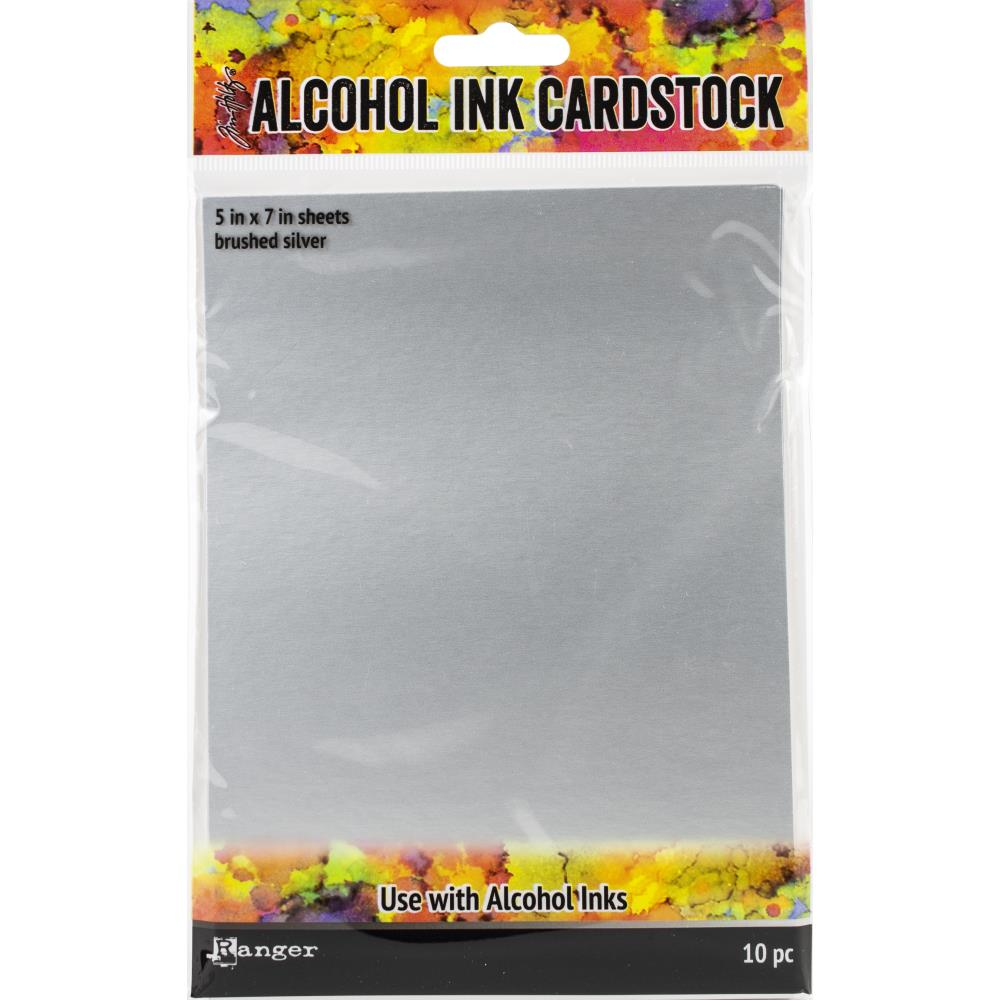 "Tim Holtz Alcohol Ink Cardstock 5""X7"" - 10/Pkg  Brushed Silver"