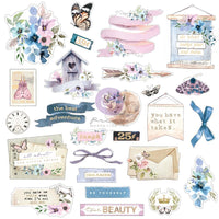 Watercolor Floral Cardstock Ephemera 25/Pkg Shapes, Tags, Words, Foiled Accents