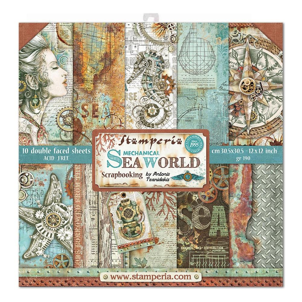 "Stamperia - Sea World 8""x8"" Paper Pack - 10 Designs, 1 of Each"