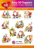 Hearty Creafts - Easy 3D Toppers - Happy Santa