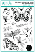 Gina K - Clear Stamp Set - Beautiful Wings