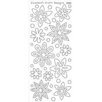 Elizabeth Craft Designs - Peel-Off Stickers - White Velvet Flowers - 3002