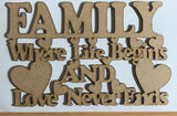 ICraft Wooden Embellishments - Family Love Never Ends