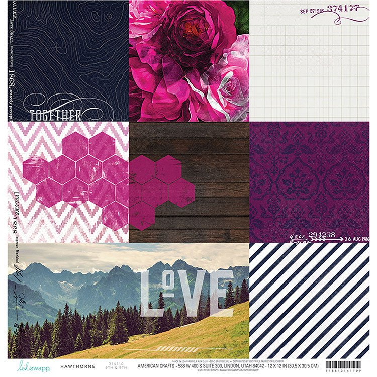 "Heidi Swapp Hawthorne Double-Sided Cardstock 12""X12"" - 9th & 9th"