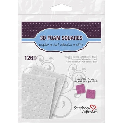 Scrapbook Adhesives 3D Self-Adhesive Foam Squares 126Pkg  half inch - Class Act Scrapbooking