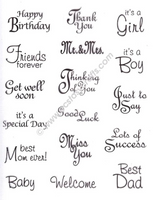 LeCreaDesign Clear Stamp - Sentiments English Text