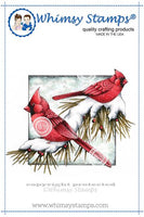 Whimsy - Cling Rubber Stamp - Winter Cardinals - DA1022