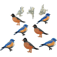 Eyelet Outlet Shape Brads - Blue Bird & Robin - 12/Pkg