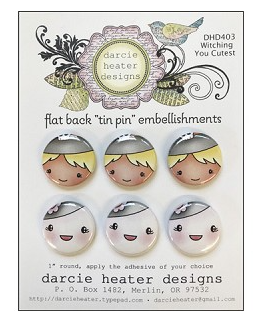 Darcie Heater Designs Flat Back Tin Pin - Witching You Cutest - DHD403